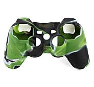 protetora de dupla capa de silicone cor estilo para ps3 controlador (verde e preto)
