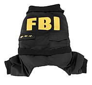 Жилет с брюками для собак в стиле ФБР (XS-XL, черный)