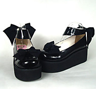 Black Patent Leather 6.5cm High Heel Sweet Lolita Shoes with Bow