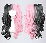 lolita Lockenperücke von schwarz und pink Mischfarbe inspiriert Pferdeschwanz 70cm gothic