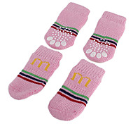 Pink Striped Letter M Anti-Skid Socks for Dogs (S-L)