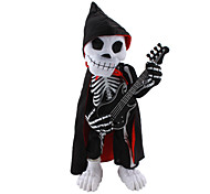 Dancing and Play Guitar Skull with Music for Halloween Party Desk Decoration (4xAA)