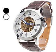 auto-mecânico esqueleto pu relógio de pulso banda analógica dos homens (cores sortidas)