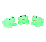 Rubber Frog Squeeze Squeak Toys for Kids (Green, 3-Pack)