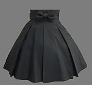 Rodilla-longitud Algodón Negro Estilo Western Classic Lolita Falda