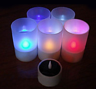 Solar Powered LED Rechargeable Single Color Flameless Candle Lamp
