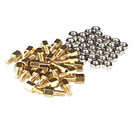 Brass Threaded Stand-Off Hex Screw Pillars with Nuts (M3 x 5mm + 6 / 50-Piece)