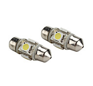 31mm 1W 4x5050 SMD White Light Festoon LED Bulb for Car Reading (2-Pack, DC 12V)