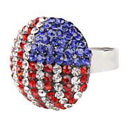 The Stars and The Stripes Rhinestone Studded Ring