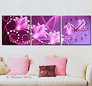 Modern Floral Canvas Wall Clock Set of 3