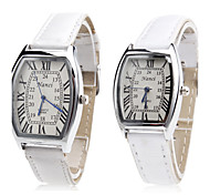 Pair of Unisex PU Analog Quartz Wrist Watch (White)