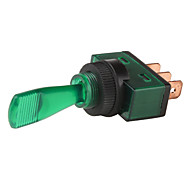 Car Toggle Switch con LED verde Indicador (DC 12V, Vehículo DIY)