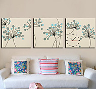 Contemporary  Botanical Wall Clock in Canvas 3pcs