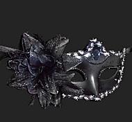 Pure Black Purfle Flower Plastic Half-face Mask