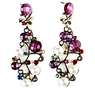Branch Shape Resin Gem-Studded Earrings with Pearl