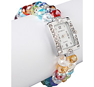 Charming Multicolor Lampwork Glass Square Women 'Watch