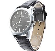 Unisex Elegant Business Style PU Analog Quartz Wrist Watch (Black)