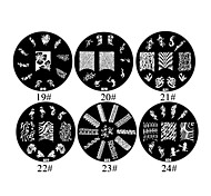 1PCS 2D Metal Flowers Nail Art Image Stamp Plate (Assorted Colors,NO.19-24)
