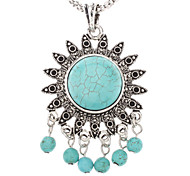 Sunflower Tassels Turquoise Pendant Necklace