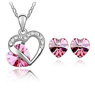 österreichischen Kristallen Herz in Herz Stil Halskette Ohrringe