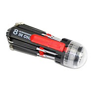 Multi-Function Eight Head Screw Driver With 3 LED Flashlight Tool Knife