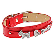 Chien Colliers Strass / Os Rouge Cuir PU