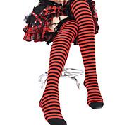 Black Lace Stripes Cotton Punk Lolita Stockings
