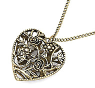 Women's Alloy Bronze Hollow Loving Heart Long Necklace with Flowers