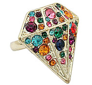 Diamond Shape Crystal Inlaid Alloy Ring