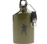 Aluminum Soldier Style 500ML Canteen Bottle with Carabiner Clip (Random Color)