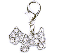 Rhinestone Decorated Tiny Dog Style Collar Charm for Dogs Cats