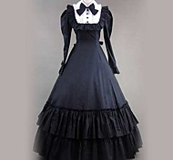 Long Sleeve Floor-length Black Cotton Gothic Lolita Dress