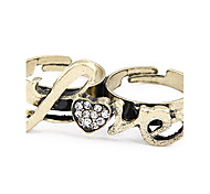 Love Crystal And Heart Double Loop Ring