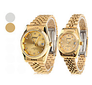 Couple's Quartz Analog Diamond Dial Steel Band Wrist Watch (1-Pair, Assorted Colors)
