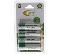 Nueva BTY recargable Ni-MH AA batería (2500 mAh)