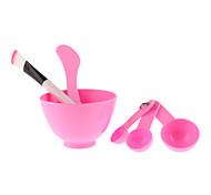 4-In-1 Beauty Care Mask Brush Bowl Stick Gauge Set (Random Color)