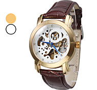 Men's Auto-Mechanical Skeleton Gold Case Brown PU Band Wrist Watch (Assorted Colors)