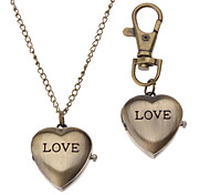 Unisex LOVE Style Alloy Analog Quartz Keychain Necklace Watch (Bronze)