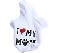 Maglia con cappuccio modello I love my mom, XS-L - Bianco