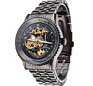 Men's Auto-Mechanical Hollow Black Dial Steel Band Wrist Watch