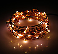 5M 50-LED Warm Alambre Blanco Copper Cadena Fairy Light Set con adaptador de CA (100-240V)
