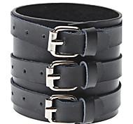 estilo punky de la pulsera de cuero negro