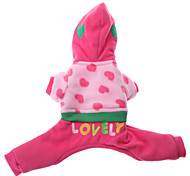 Dog Hoodie Pink Dog Clothes Winter Embroidered