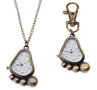 Unisex Sole Style Alloy Analog Quartz Keychain Necklace Watch (Bronze)