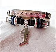 punky de cuero de vaquero mirada pulsera de los hombres (anchura: 2, longitud: los 21cm)