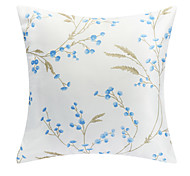 Country Blue Floral Polyester Decorative Pillow Cover