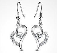 Shining 925 Sterling Silver Heart-shaped Earrings