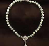 Women's Office Look Rhinestone Pearl Choker