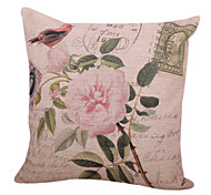 Retro Floral Cotton/Linen Decorative Pillow Cover