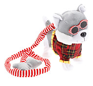 Walk the Dog Singing and Barking Shaking Tail Puppy Plush Toy (3xAA, Gray)